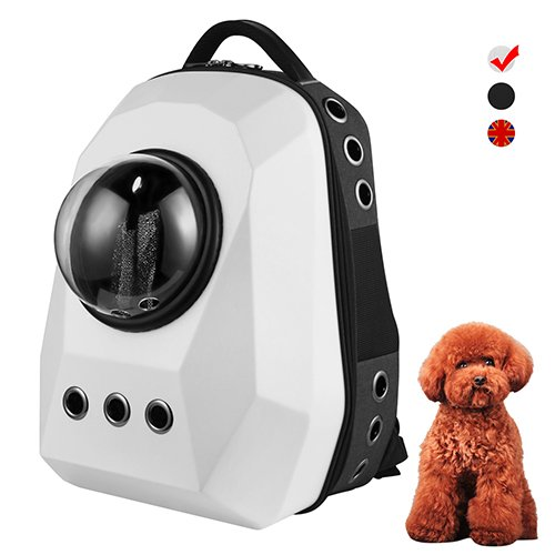 Big White Anzone Large Capacity Diamond Space Capsule Pet Carrier Backpack with Three Replaceable Windows, 15 Air Vent Holes Outdoor Or Traveler Waterproof Knapsack for Cats Dogs & Petite Animals-White
