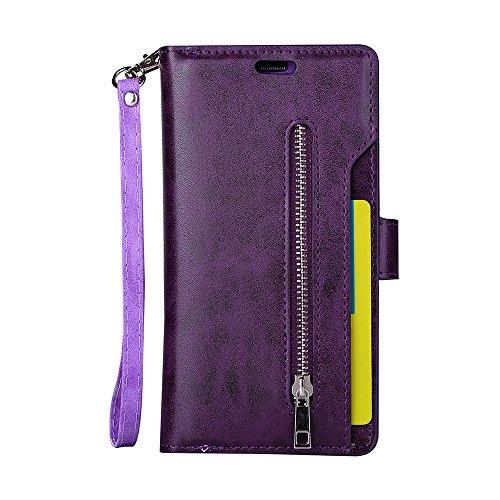 Galaxy S7 Edge Wallet Case, Leather [9 Card slots] [photo & wallet pocket] (Purple)