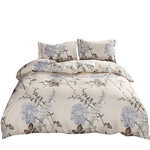 - VKStar Floral Duvet Cover Twin XL Cream,Reversible Vintage Chic Botanical Garden 3 PCS Microfiber Dormitory Bedding Sets Twin Girls Comforter Cover Zipper Closure,NO Comforter