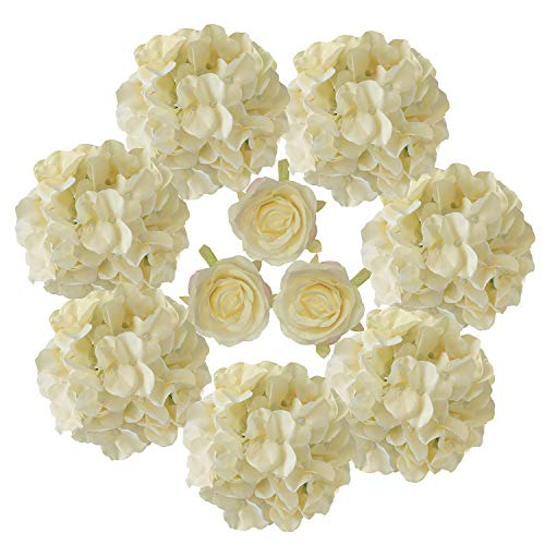 Artificial Hydrangeas Flowers Artificial Roses Flowers Silk Hydrangeas Flowers Head for Craft Hydrangeas Wedding Arch Backdrop Champagne yellow