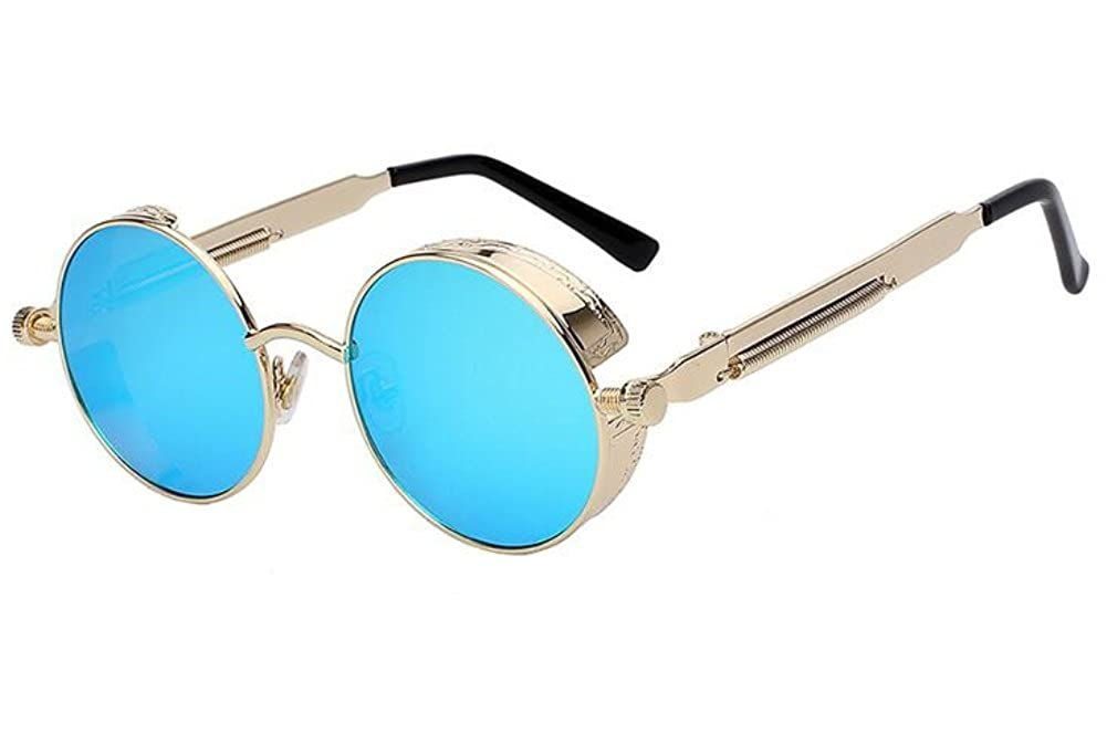 Men Round Mirror UV400 Steampunk Sunglass Women Retro Vintage Sun Glasses 4.7) MO