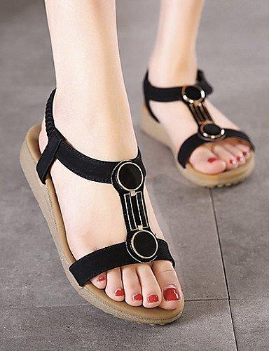 ShangYi Women's Shoes Synthetic Flat Heel Slingback Sandals Dress / Casual Black / Almond Almond 3XezGRqEB
