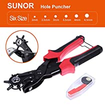 SUNOR Hole Punch Plier, Revolving Heavy Duty Leather Hole Punching Tool for Belts, Purses, Watch Band