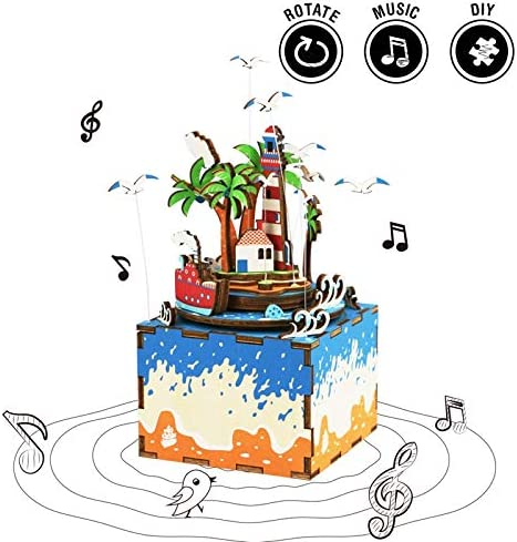 zyfun Caja de música Movimiento Robotime DIY Rotatable Vocational Island Wooden Music Box Hand Clockwork Type Home Decor Beauty Gift For Friends Children: Amazon.es: Hogar
