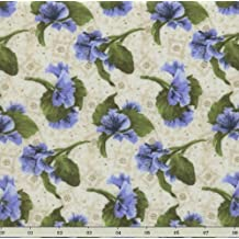 RJR Debbie Beaves 'Lovely' Blue Pansies Tossed on Natural Cotton Fabric By the Yard