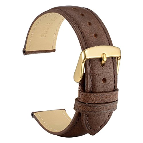 WOCCI 18mm Watch Band - Vintage Leather Watch Strap Dark Brown with Gold Buckle (Tone on Tone Stitching)