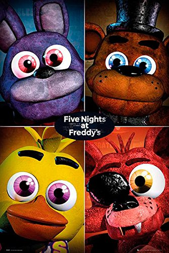 Póster Five Nights at Freddys, cuatro personajes