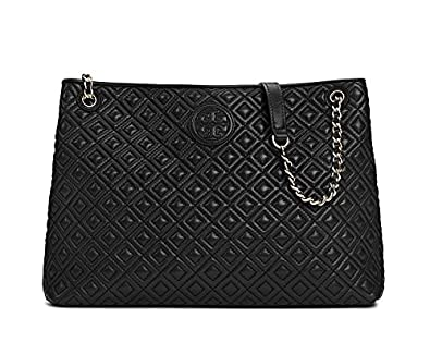 Amazon Tory Burch Marion Quilted Tote Black Leather Bag Handbag