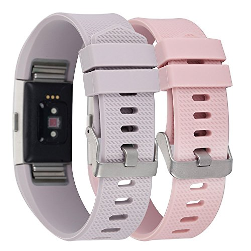 fa2372c4a0d Amazon.com: Charge 2 Band Replacement,Classic Silicone Band Accessories  Adjustable Strap Belt For Fitbit Charge 2 Heart Rate Fitness Wristband  (Blush ...