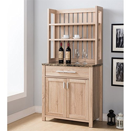 Furniture of America Rye Contemporary Wooden Bakers Rack in Weathered Sand