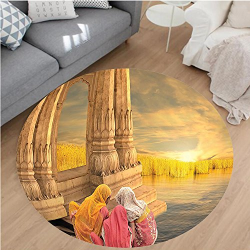 Nalahome Modern Flannel Microfiber Non-Slip Machine Washable Round Area Rug-nt India Women in a Temple Holy Heritage Architecture Arabesque Picture Earth Yellow Pink area rugs Home Decor-Round 67'' by Nalahome