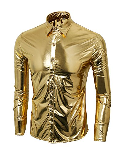 [Men's Nightclub Metallic Silver Button Down Long Sleeves Dress Shirts Fashion Shinny Slim Disco Dance Tops Costume Party Clubwear (Large, Gold)] (Dance Wear Costumes)