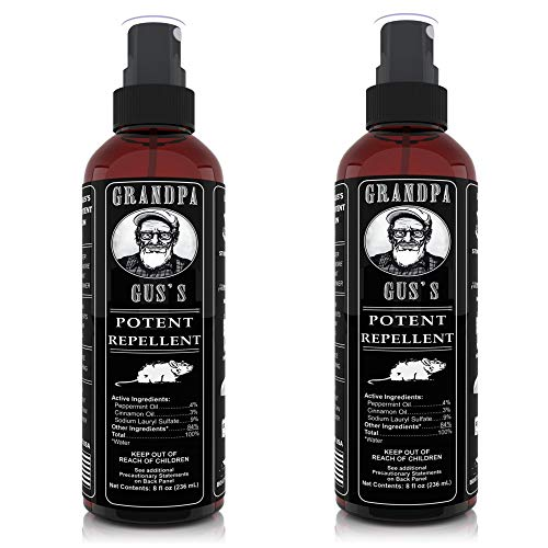 Grandpa Guss Mouse Rodent Repellent Spray - Natural Peppermint Oil for Mice and Rat - 8 FL Ounce - 2 Bottles