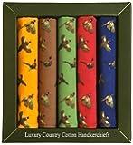 Soprano - Mouchoirs 100% Coton Luxe 5 Couleurs Jaune / Marron / Vert / Rouge / Bleu 40x40cm Avec Faisan Qui Volent Et Courent