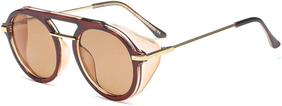 IJEWALRY Gafas De Sol De Mujer,Gafas De Sol con Protector Lateral para Hombres Gafas De Sol Redondas Marrones Redondas para Mujeres Vintage Uv400 Half Metal Brown