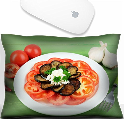 - Luxlady Mouse Wrist Rest Office Decor Wrist Supporter PillowIMAGE: 34165381 Eggplant salad with tomatoes and feta cheese on wooden background