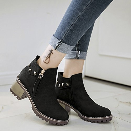 Zip Chunky Boots Surface Rivet Martin Low D QZUnique PU Women up Casual Heel pwCB4Tzq