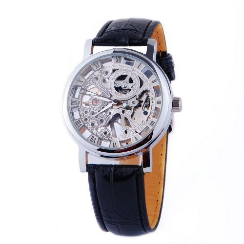 ShoppeWatch Mens Mechanical Skeleton Watch Hand Wind Up Movement Silver Dial Black Leather Strap - Movement Skeleton