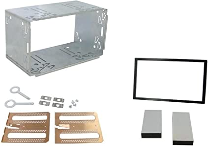 Silver 2 Din Installation Car Stereo Radio Mounting Frame Universal Car Radio Adapter in-Dash Metal Mounting Frame Complete Fitting Kit Car Auto Vehicle Hardware