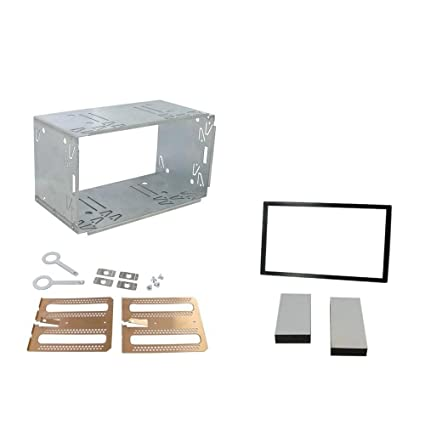 Autostereo 180 x 103mm Universal Double DIN Installation Slot Metal Car Stereo Radio Mounting Frame 2DIN Universal Car Radio Adapter in-Dash Mounting Frame Complete Fitting Kit