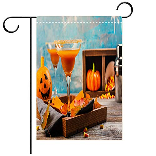 BEICICI Garden Flag Double-Sided Printing, Double Sided Autumn Pumpkin Margarita Cocktail with Halloween Decor Best for Party Yard and Home Outdoor -