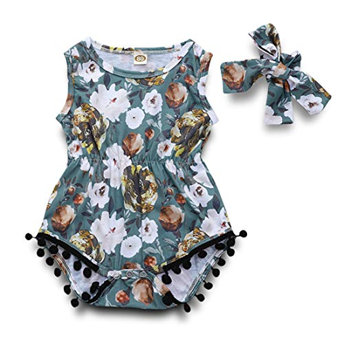 Newborn Baby Girl Tassels Romper Bodysuit Floral Pompom Sleeveless Jumpsuit Outfit with Headband Summer Sunsuit Clothes (Blue, 0-6 ()