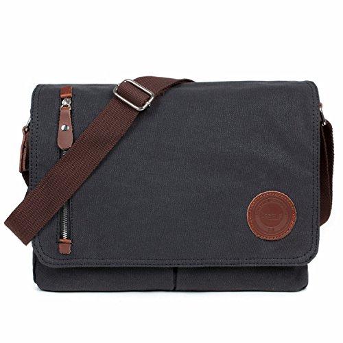 LOSMILE Mens Canvas Messenger Shoulder Bag. (Black)