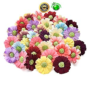 silk flowers in bulk wholesale Fake Flowers Heads Artificial Silk Rose Bud Tea Flowers Head for Wedding Decoration DIY Gift Wreath Box Scrapbooking Handicraft Fake Flower 100PCS 4CM (Multicolor) 105