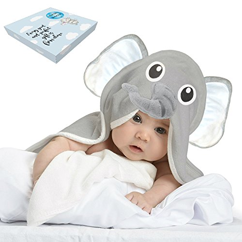 Baby Toddler Towels with Elephant Hood for Kids - Large Soft Gray Organic Bamboo Babies Blanket with Washcloths by iTreasure LLC