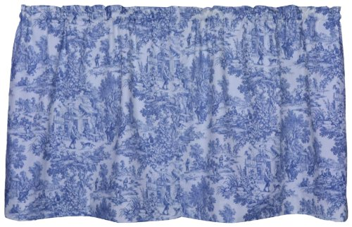 Victoria Park Toile 68-Inch-by-30 Inch Tailored Tier Curtains, Blue