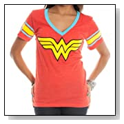 DC Comics Wonder Woman Logo Deep V-Neck Red Juniors T-shirt
