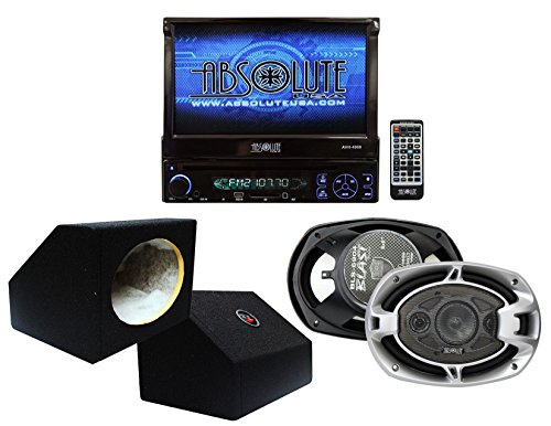 Absolute USA AVH4000PKG 7-Inch In-Dash TFT-LCD Monitor DVD Receiver and Speaker Combo Pack with Two 6 x 9 Inches Enclosure - Newport Combo