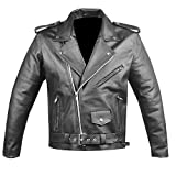 Men's Classic Leather Motorcycle Jacket Biker Style Chopper Police Coat L