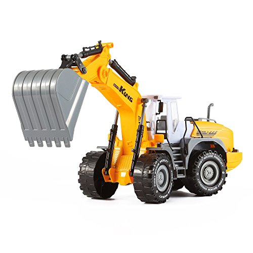 Friction Powered Wheeled Excavator Truck with Claws Push and Go Inertia Construction Toy for Boys and Girls Realistic 1:16 Scale Design Design Excavator