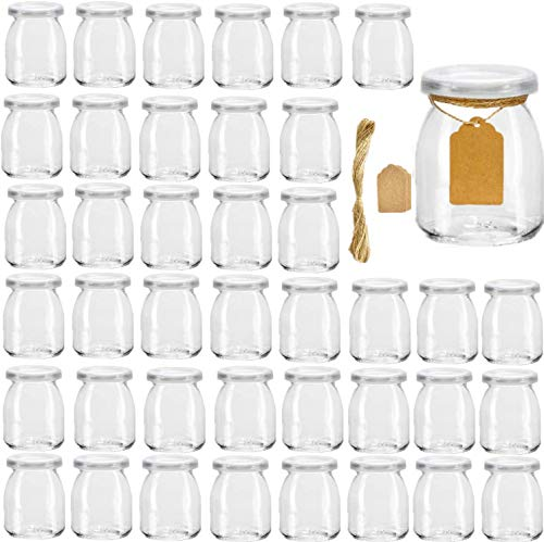 Glass Yogurt Container With Lids,Encheng 7 oz Clear Glass Jars With Lids(PE),Replacement Glass Pudding Jars Yogurt Jars,Glass Container With Twine n Tag For Milk,Jams,Jelly,Mousse,Dishwaresafe 40 Pack