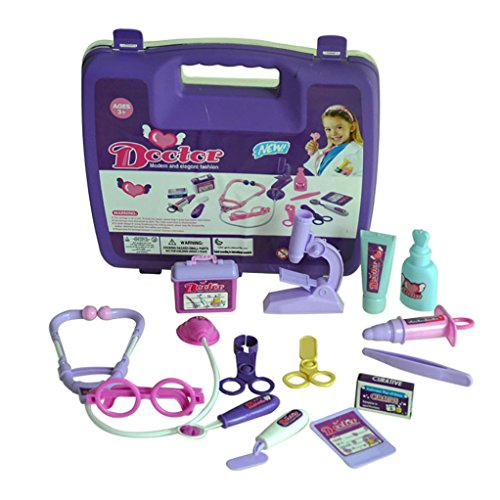 Leegor Childrens Kids Role Play Doctor Nurses Toy Set Hospital Simulation Utensils Medical Kit Christmas Gift (Purple)