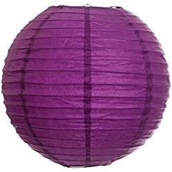 Koyal 14-Inch Paper Lantern, Plum Purple, Set of 6