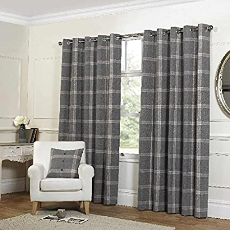 Plaid Check Grey Eyelet Curtains