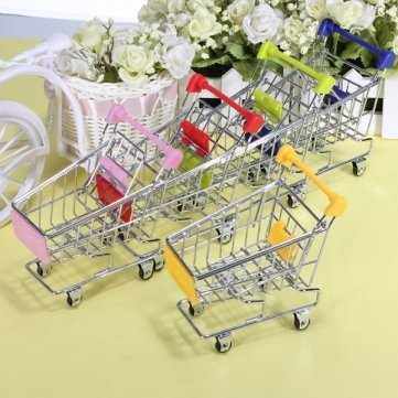 High Quality Mini Shopping Cart Desk Organizer Supermarket Phone Pen Toy Holder - Blue Cesis SKUTM0590624 - Blue
