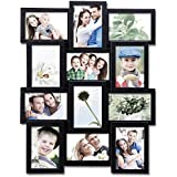 Adeco 12 Openings Black Decroative Wall Hanging Collage Picture Frame - Made to Display Twelve 4x6 Photos
