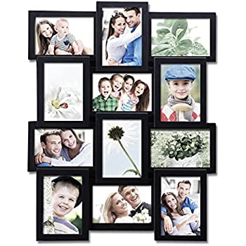 Adeco 12 Openings Black Decroative Wall Hanging Collage Picture Frame -  Made to Display Twelve 4x6