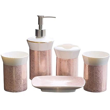 Pink Bathroom Accessories Sets.Amazon Com Yx Xuan Yuan Ceramic Bathroom Five Piece Pink