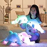 "18"" Supper Cute Sea Animal Little Stuffed Toys, Sparkling Dolphin Plush Toy with Mix Color Changing LED Light (Blue, 45cm)"