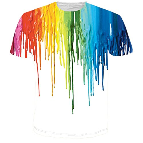 RAISEVERN Unisex Melting Paint Printed Graphic T Shirt Tops Melting Paint Large