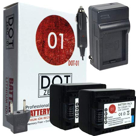 DOT-01 2X Brand Canon HF R800 Batteries and Charger for Canon HF R800 Camcorder and Canon HFR800 Battery and Charger Bundle for Canon BP718 BP-718