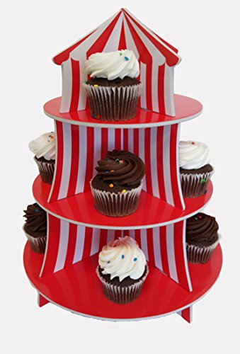 Cupcake Stand For Children's Parties, Big Top Cupcake Stand, 3 Tier Carnival, Circus Cupcake Stand (Holder Circus Stand Cupcake)