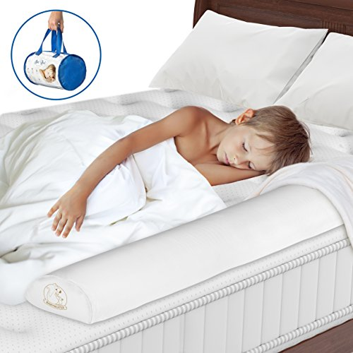 Toddler Bed Rail - Non-Toxic, Water-Resistant Foam Toddler Bed Rail bumper Guard Provides Safety and Reassurance – White, Machine Washable Cover – Non-Slip Side Bed Rail for Kids + Travel Case by BABYSEATER