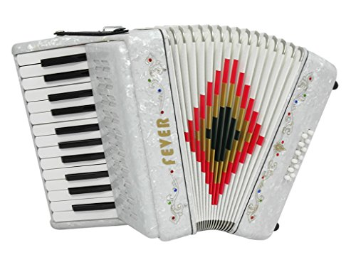 Fever Piano Accordion 25 Keys 12 Bass, White