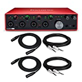 Focusrite Scarlett 18i8 3rd Gen 18x8 USB Audio Interface with 2 XLR Cables and 2 1/4-Inch TRS Cables Bundle (5 Items)