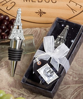 From Paris with Love Collection Eiffel Tower wine bottle stopper favors (Set of 72) by FASHIONCRAFT
